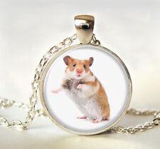 Cute little mice Cabochon Tibetan silver Glass Chain Pendant Necklace