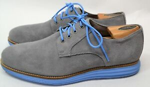 Cole Haan Grand OS Mens Grey With Blue Laces Size 9.5M Oxford Casual Shoes