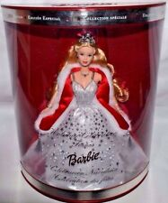 NEW-2001 HOLIDAY BARBIE DOLL-AMAZING SILVER JEWELRY & CROWN-WHITE GOWN-FUR WRAP
