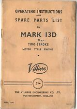 Villiers 13D 122cc Two Stroke Motor Cycle 1954 Instructions and Parts List