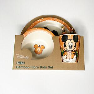 Disney Mickey Mouse Halloween Thanksgiving Fall 5pc Bamboo Fibre Kids Dish Set