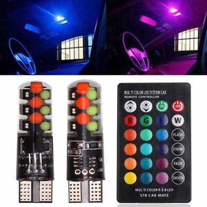 2X T10 W5W 6 SMD 5050 RGB LED Light Car Wedge Side Reading Bulbs Remote Control