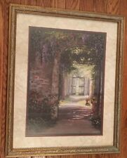 Home Interiors Picture Wood Frame Gold & Aged Copper Tone Wisteria Flowers Gate