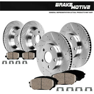 For Mercedes-Benz Maybach S550 Front+Rear Drill Slot Brake Rotors & Ceramic Pads