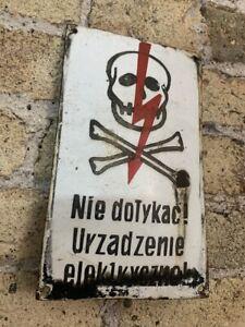 Genuine Vintage Enamel Sign Danger of Death, Communist Era, Warning, Patina