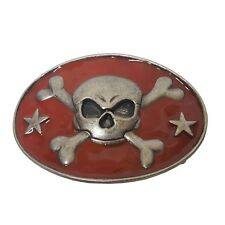 and Stars in Red Oval Buckle with Skull