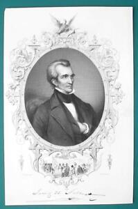 JAMES POLK President - 1856 Portrait Print Ornamental Border