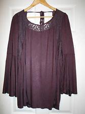 Indigo Thread Womens L Heathered Burgundy Top Lace Yoke Knit Tunic Blouse NWOT