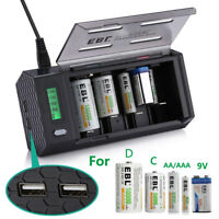 EBL LCD Quick Universal Battery Charger for AA AAA C D 9V Ni-MH Ni-CD with 2 USB