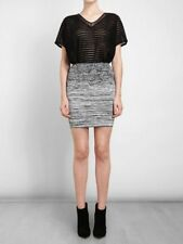ALEXANDER WANG Static Effect Stretch Knit Pencil Skirt Black White Size XS