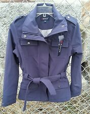 NWT EOUS HAMPTON $110 Soft Shell Riding Jacket Coat w/Sash Ties Navy SZ XS