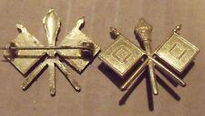 1902 Span-Am War Signal Corps Collar Insignia Pin Back PreWWI Gilt Corp