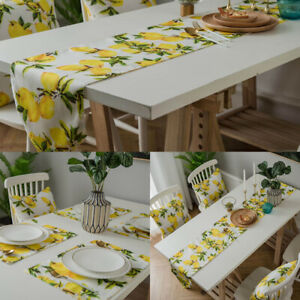Lemon Pattern Table Runner Placemat Dinner Party Tea Table Cloth For Dining Room