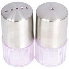 Plastic Base Stainless Steel Salt & Pepper Pots Shakers Dispensers Condiment Set
