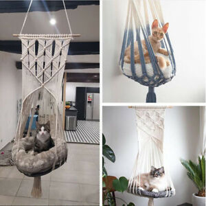 Hanging Basket Cat Nest Hand Woven Pet Swing Cotton Nest Cat Hammock Macrame