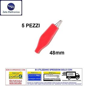 4 Pezzi Pinze Coccodrillo Clip Con Guaina 2 Rosse e 2 Nere 28mm