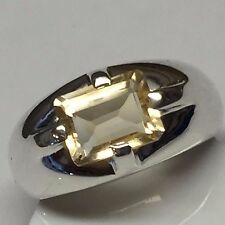 Natural 2ct Emerald Cut Golden Citrine 925 Solid Sterling Silver Unisex Ring 6