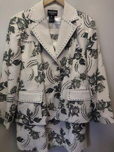 New Terramina  2 Piece Skirt Suit Jacket Women's 20 Beige Black Floral Metallic