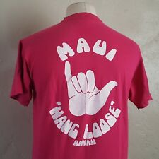 VTG 80s ~ HANG LOOSE ~ Pink Hawaii T Shirt ~ HANES 100% Cotton ~ Medium ~ Surf