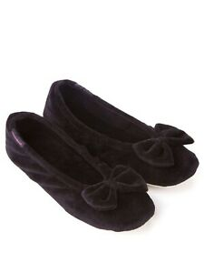 Totes Isotoner Velour Ballet Slippers with Bow Detail Size 4-5 37-38 New