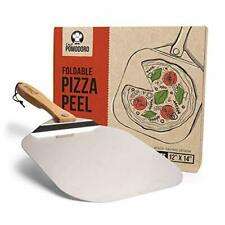 Aluminum Metal Pizza Peel with Foldable Wood Handle for Easy Storage 12-Inch