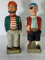 "Vintage ""Old Salt"" Ceramic Decanters Lot Of 2 Pirate Pegleg Sailor Nautical 11"""