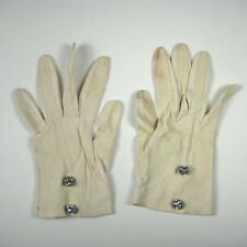 Women Gloves Size 6 Leather 7.5 Inch Rhinestone Button Stain Hole Vintage
