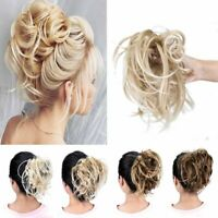 Real Thick Elastic Scrunchies Messy Bun Hair Extension As Human Natural Curly AU