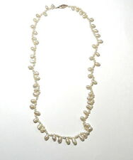 "Natural Fresh Water PEARLS Strand Necklace 20"" with 14k Yellow GOLD Clasp"