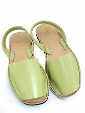 LES ATELIER LADIES MENORCAN LIME GREEN LEATHER FLAT CASUAL SANDALS UK 6 - EUR 39