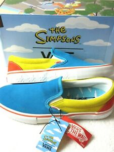 Vans x The Simpsons Mens Slip On Pro Suede shoes Blue Yellow Skulls Size 11.5