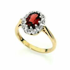 Genuine 14k gold and diamond cluster oval garnet royal engagement ring