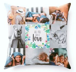 Personalised Cushion Pillow Case Cover Collage Custom Images Photo Fathers Day