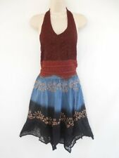 Gypsy Short Halter Lace Casual Embroidered Hippy Party Cruise Dance Dress