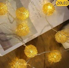Lichterkette 20 LED Kugelform Dekolicht Weihnachten Beleuchtug Batteriebetrieben