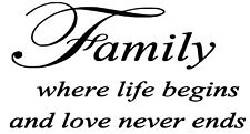 Family Quote Wall Decal / Sticker
