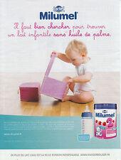 Publicité Contemporaine  Le Lait Infantile Milumel   2013  P. 19