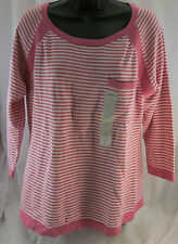 Liz Claiborne, Large, Chateau Rose Pink Striped Sweater, New with Tags