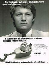 PUBLICITE  1974   PHILIPS  rasoir grille trés mince