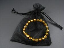 Neu ARMBAND 7mm SÜßWASSERPERLEN goldfarben ZUCHTPERLEN Perlen PERLENARMBAND