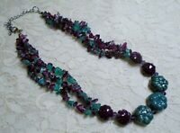 VINTAGE MULTI STRAND PURPLE & GREEN GLASS & CERAMIC BEADED BOHO NECKLACE 20""