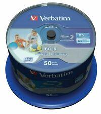 50  Verbatim Blu Ray 43812  25GB 6x Speed Printable Spindle Blank BD-R discs