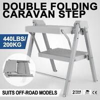 Double Folding Caravan Step Portable Lightweight Compact Rv Camper Trailer