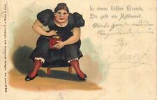 Chromo litho 1904 woman caricature coffee grinder hand mill J Junginger postcard