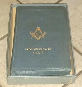VTG MASONIC HOLY BIBLE in box Temple Holman Signed by Brethren LOTUS LODGE 625