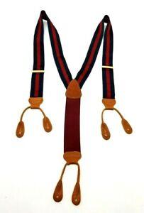 Men's SUSPENDERS Navy & Red Silk w Leather Attach -  Estate Piece