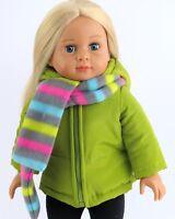 "Doll Clothes 18"" Jacket Green Nylon Hood Scarf Fleece Fit American Girl Dolls"