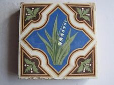 ANTIQUE VICTORIAN MINTON GLAZED ENCAUSTIC FLOOR TILE - LILY OF THE VALLEY c1870
