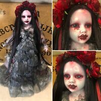 Free USA Shipping Creepy gothic ooak dark art doll infected mourning lady roses
