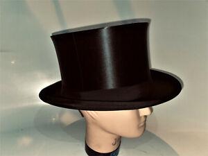 Antiker Zylinder Hut Chapeau Claque Top Hat Gr 59 / 60 XXL Umtausch Exchange new